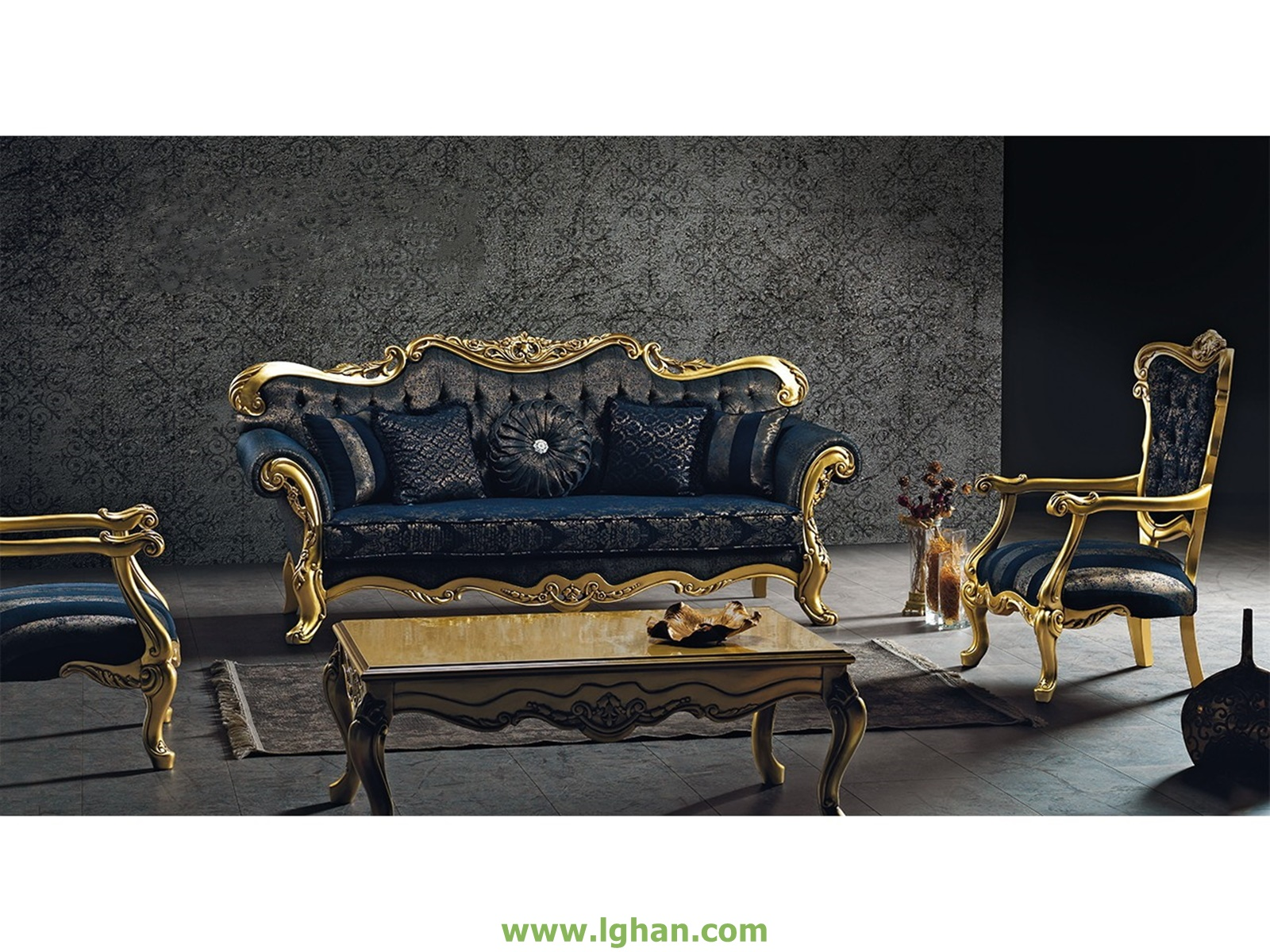 Picture of: Shop By Living Rooms Living Room Sets Villa Navy Blue Gold 1 Sofa 1 Chair